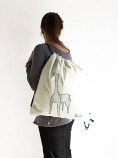 ON SALE canvas drawstring backpack Giraffe embroidered CITY #duck #backpack #urbanstyle
