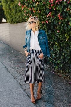 Classic stripes finished with a crisp white shirt and casual blue denim jacket.