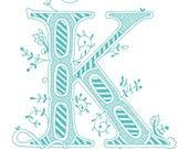 Hand drawn monogrammed print, the Letter K, in the color blue