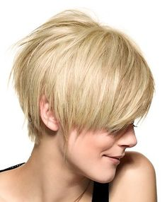 A short blonde straight coloured asymmetrical womens haircut hairstyle by Saint Algue