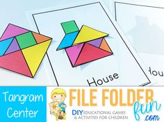 Home Preschool Games: Tangrams!Carefully arrange your shapes to make a picture. Can you make your own picture? Game Assembly: Laminate and cut out your tangram shapes. Print one set of outline cards ...