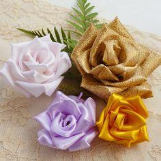 Rose fabric flowers tutorial & ribbon flower tutorial - True Love Rose - N0 Sew at all - PDF easy beginner ebook