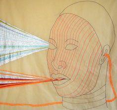 "Wura-Natasha Ogunji 2015 ""The Garden"" Thread, ink, graphite on paper one panel of triptych (23 x 24 inches each)"