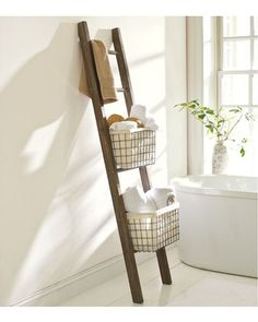 This is great for small bathrooms- it keeps the space open while also providing necessary storage space. Buy it here: http://www.bhg.com/shop/pottery-barn-lucas-reclaimed-wood-bath-ladder-storage-p505c37f982a71c80fdfdd252.html?socsrc=bhgpin112012ladderstorage