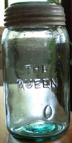 Fine Antique Glass Complete Original THE QUEEN 1869 Patent Quart Fruit Jar