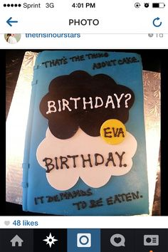 The fault in our stars birthday cake!!! I want it!!