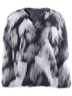bd835425ed94f9 Simplee Apparel Damen Mantel Winter Elegant Warm Multicolor Faux Fur  Kunstfell Jacke Kurz Mantel Flaumig Coat