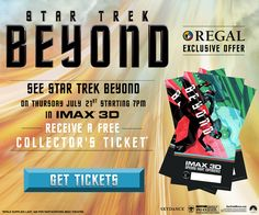 TONIGHT! See #StarTrek Beyond in IMAX 3D and receive and exclusive collectible ticket, while supplies last!