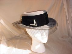 Ladies Betmar Hat Gray w Black Wool Velvet Band  Netting Bow Rhinestone Accent #Betmar #BowlerDerby Seller florasgarden on ebay