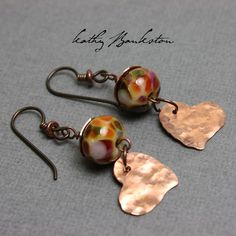 Copper Heart Beaded Earrings