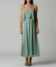 Blue & Pink Abstract Maxi Dress by Dynasty Fashions #zulily $16.99