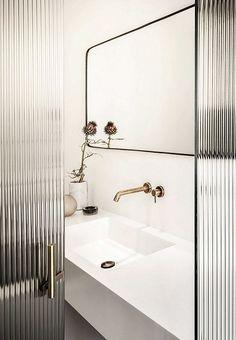 reeded glass door // black & white // bathroom - Home - Door Design Bad Inspiration, Bathroom Inspiration, Steam Showers Bathroom, Small Bathroom, Bathroom Ideas, Bathroom Inspo, Bathroom Glass Wall, Bathroom Vanities, Glass Walls