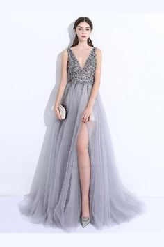 Fitted Prom Dresses, 2018 new a line v neck grey tulle beaded long sleeveless backless prom dresses uk with split Bey Love Split Prom Dresses, Unique Prom Dresses, Plus Size Prom Dresses, Backless Prom Dresses, A Line Prom Dresses, Prom Party Dresses, Cheap Dresses, Formal Dresses, Formal Prom