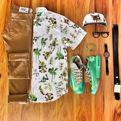 outfit grid | cook look .. But switch the green shoes with white vans or something