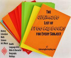 Ultimate List of Free Lapbooks for Every Subjects @ embracingdestinyblog.com