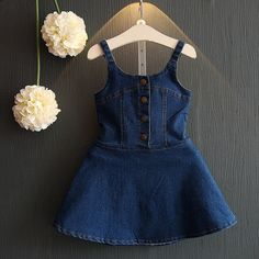 Cheap summer girl dress, Buy Quality girls jean dress directly from China fashion girl dress Suppliers: 2017 Summer Girl Dress Fashion England Style Cotton Baby Girls Jeans Dresses Sleeveless Princess kids children clothingHot sale Girls Dress 2016 N Baby Girl Dress Patterns, Baby Dress Design, Frock Design, Little Girl Dresses, Girls Dresses, Dress Girl, Kids Outfits Girls, Girl Outfits, Baby Girl Jeans