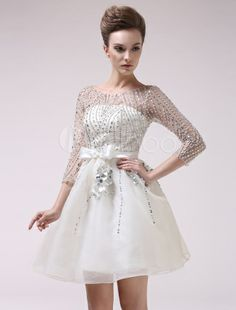 Ivory Jewel Neck Beading A-line  Length Sleeves Organza Prom Dress