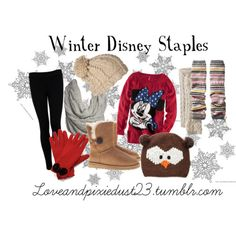 Going to Disneyland when it's cold or just want to keep the Disney tradition going year round? Here are some things you'll want:    Winter Boots - to keep your feet warm  Leg Warmers - Adds texture, color, and warmth  Cute hats or crocheted headbands - Keeps your ears warm and adds color to your outfit  Gloves - Keeps hands warm and makes a statement  Scarves - Get a ton of different scarves in many different colors and you can wear these with any outfit.  Leggings and tights - Keep your le
