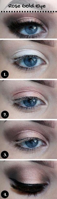 15 Gorgeous Makeup Looks for Blue Eyes - #eyemakeup #blueeyes #eyeshadow #rosegold #shadow