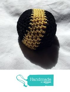Black with Gold Stripe hand Crocheted Footbag 7.5x7 Inch from Southern Women…