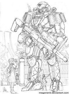 JSX Shinden Seen Here Being Checked By Its Pilot Another Female Character I Drawing Separately XD At Meter Tall Size Wise This Mecha Doesn Really