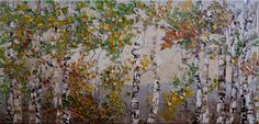 Birch Trees Forest, Oil Painting by Tatjana