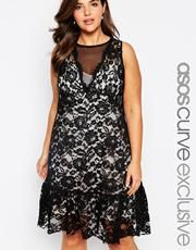 ASOS CURVE Exclusive Lace Dress With Peplum Hem & Deep V
