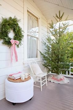 Christmas Decor Ideas : Dreamy Whites: French Farmhouse Christmas Coming Soon. The Beautiful Souvenir Lifestyle Holiday Issue is Here. Cottage Christmas, Christmas Porch, Noel Christmas, Country Christmas, Christmas And New Year, Winter Christmas, All Things Christmas, Christmas Decorations, Simple Christmas