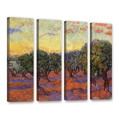 Olive Grove with Orange Sky by Vincent Van Gogh 4 Piece Painting Print Gallery Wrapped on Canvas Set