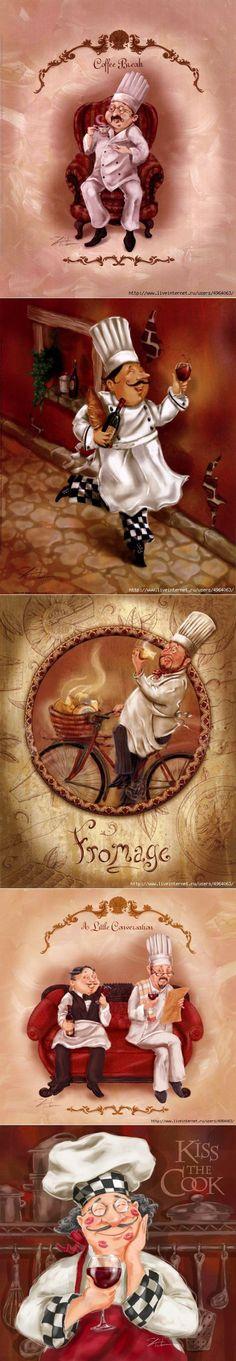 Повара для творчества. Работы Shari Warren Chef Pictures, Decoupage Paper, Chalk Art, Rice Paper, Food Art, Diy And Crafts, Whimsical, Beautiful Pictures, Clip Art