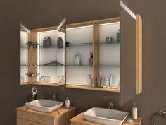 Schlichter LED Spiegelschrank Bad » auch in kleinen Größen für kleine Bäder und Gäste WC erhältlich ✓ Maßanfertigung in Deutschland ✓
