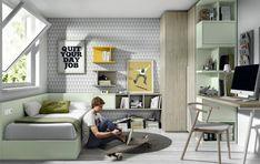 Habitación juvenil con cama, armario rincón y escritorio