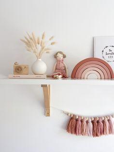 Girls Nursery Shelf Ideas, Earthy Pink Kids Room, Pink Girls Room Decor