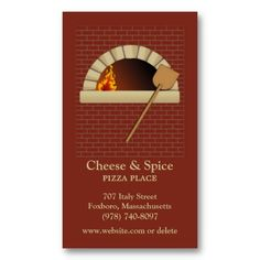 Elegant Brick Bakery, Pizza, Restaurant Business Card. It's two-sided with no additional charge, and totally customizable!