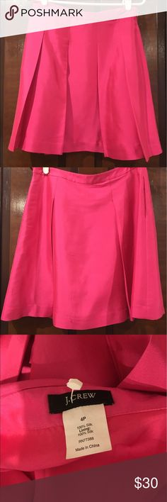 J Crew Hot Pink silk dupioni skirt Size 4 petite! J Crew Hot Pink silk dupioni skirt Size 4 petite! Great condition! 100% silk, fully lined! J. Crew Skirts A-Line or Full