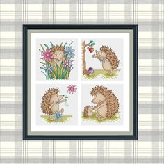 Hedgehog - Set of 4 - Durene J Cross Stitch Patterns Hedgehog Cross Stitch, Cross Stitch Animals, Back Stitch, Stitch 2, Cross Stitch Charts, Cross Stitch Patterns, Holly Hobbie, Dmc Floss, Hedgehogs