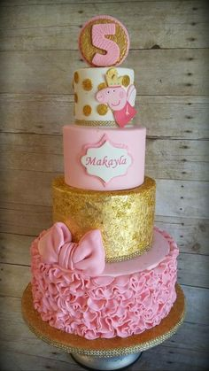 """Peppa Pig Fairy Princess Cake - top two tiers only - change to buttercream - do the """"dots"""" in gold fondant. For the top add crown Tortas Peppa Pig, Bolo Da Peppa Pig, Peppa Pig Birthday Cake, Birthday Cake Girls, Birthday Parties, Peppa Pig Cakes, Picnic Parties, Daughter Birthday, 4th Birthday"""
