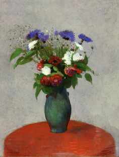 Vase of Flowers on a Red Tablecloth by Odilon Redon  Size: 64.7x49.2 cm  Medium: oil on canvas