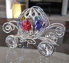 Cinderella Coach Ornament, 10 Swarovski Octagon Prisms, Sterling Silver Plate