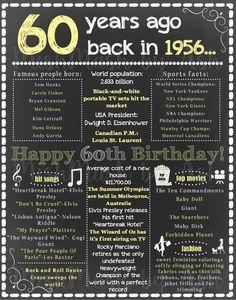 60th Birthday Chalkboard Sign 1956 By Mishmashbyash Ideas For Dad