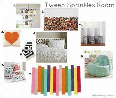 Love the Chandelier! Both my girls would LOVE it! Make Them Wonder: Tween Sprinkles Moodboard
