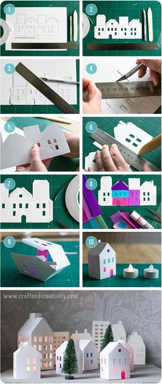 Tea light paper houses (free template) diy rhs (for diy putz houses) Diy Paper, Paper Art, Paper Crafts, Origami Paper, Diy And Crafts, Crafts For Kids, Arts And Crafts, Navidad Diy, Putz Houses