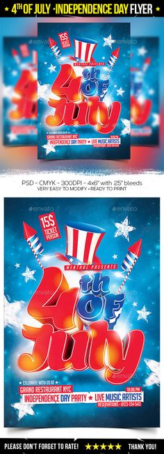 Independence Day 4th of July Flyer Template - Party Flyer - independence day flyer