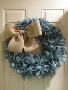 Turquoise Burlap Wreath with Natural Burlap by DelightfullyQuaint