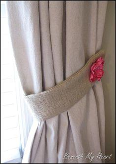 DIY Tutorial: DIY Curtains / DIY Guest Post Burlap Tie Backs by Beneath My Heart - Bead&Cord