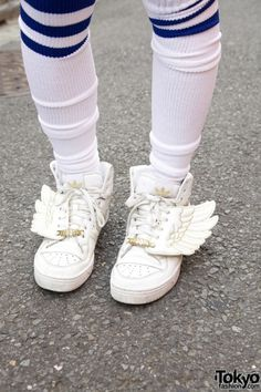 Kawaii Cute Shoes Socks Wings Addidas Japan Japanese Tokyo Harajuku