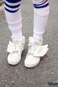 Kawaii Cute Shoes Socks Wings Addidas Japan Japanese Tokyo Harajuku