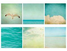25% Off SALE Set of six mini Square prints. Blue Original Fine Art Photography. summer, ocean, sea, turquoise beach photgraphs, sky clouds