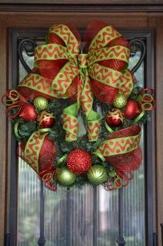 Red and Lime Green Christmas Wreath Ornaments Ribbon by JoowaBean