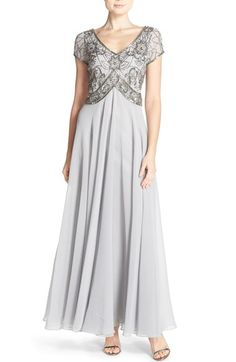 Free shipping and returns on J Kara Embellished Chiffon Gown at Nordstrom.com. Glinting sequins and glass beads illuminate the lovely short-sleeve bodice of an airy chiffon gown cut to fit and flatter your figure.